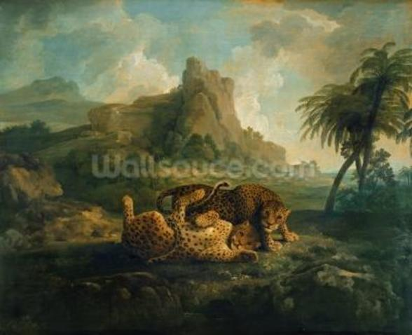 Leopards at Play, c.1763-8 wallpaper mural
