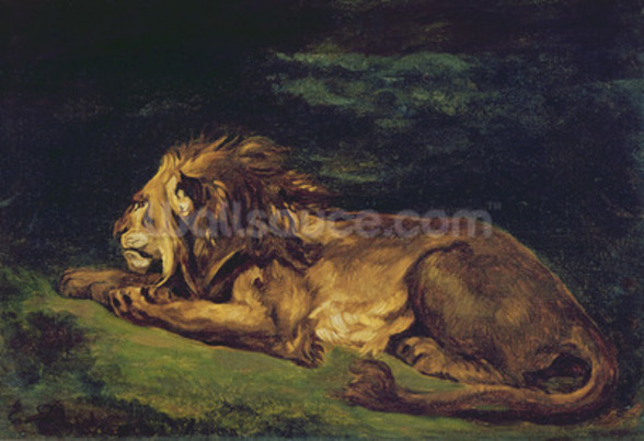 Lion Resting (oil on canvas) wallpaper mural