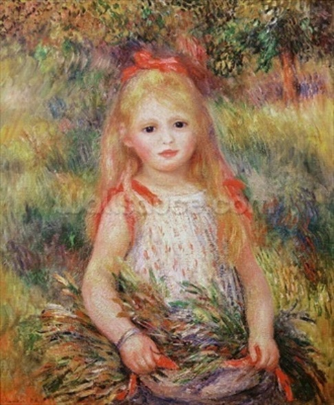 Little Girl Carrying Flowers, or The Little Gleaner, 1888 (oil on canvas) wall mural