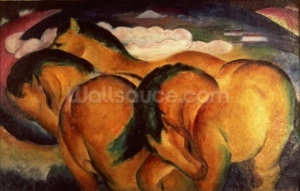 Little Yellow Horses, 1912 (oil on canvas) mural wallpaper