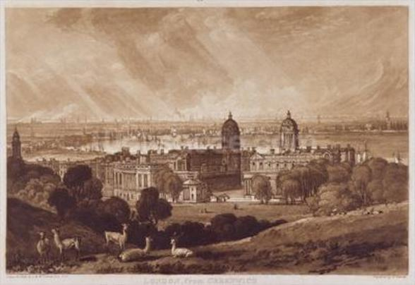 London from Greenwich, engraved by Charles Turner (1773-1857) 1811 (engraving) wallpaper mural