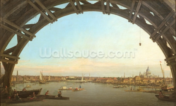 London seen through an arch of Westminster Bridge, 1746-7 (oil on canvas) wall mural