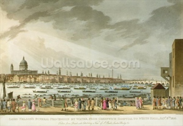 Lord Nelsons funeral procession by water from Greenwich to Whitehall from The History and Graphic Life of Nelson, engraved by J. Clark and H. Marke, pub. by Orme, 1806 (coloured engraving) mural wallpaper