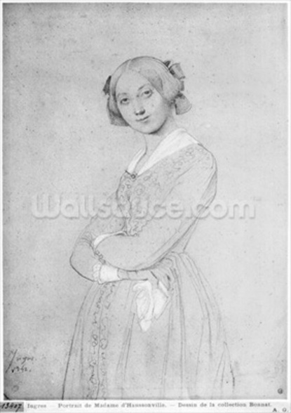 Louise de Broglie, Countess of Haussonville, 1842 (graphite & white highlights on paper) (b/w photo) wallpaper mural
