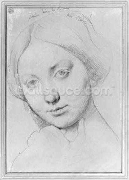 Louise de Broglie, Countess of Haussonville, c.1842 (graphite on paper) wall mural