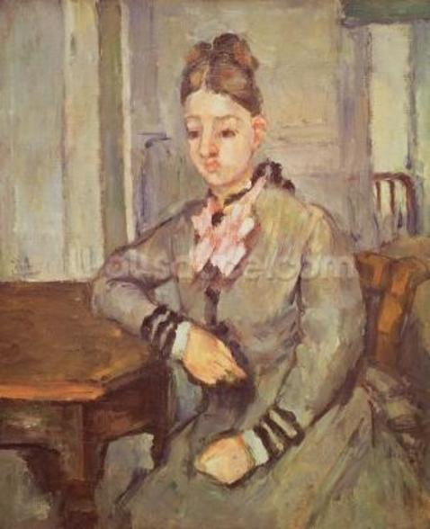 Madame Cezanne Leaning on a Table, 1873-77 (oil on canvas) mural wallpaper