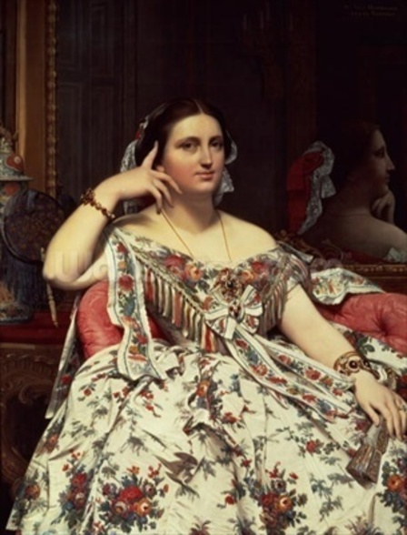 Madame Moitessier, 1856 (oil on canvas) mural wallpaper