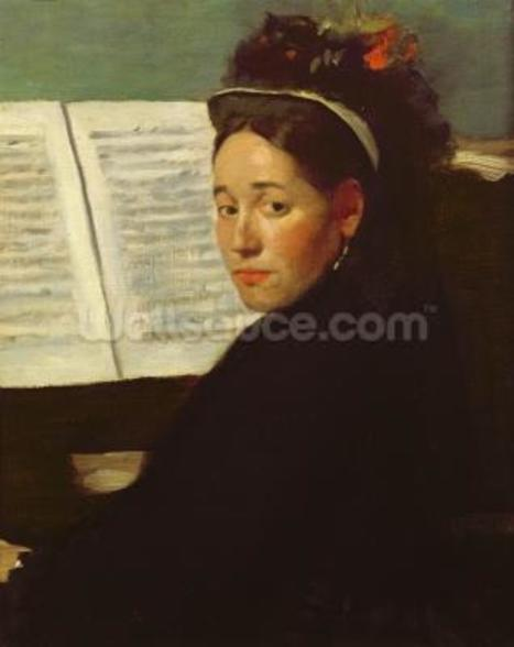 Mademoiselle Marie Dihau (1843-1935) at the piano, c.1869-72 (oil on canvas) wall mural