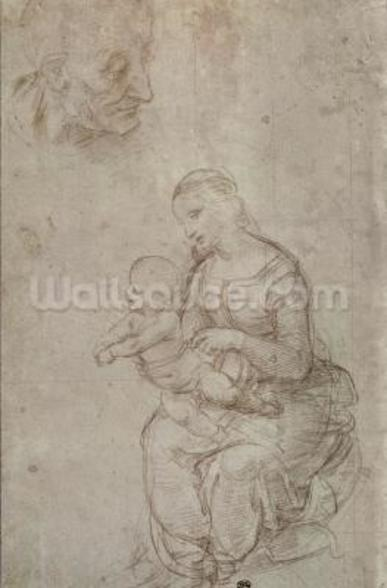 Madonna and child and head of an old man (metal point on prepared pale pink paper) wall mural