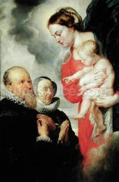 Madonna and Child with the donors Alexandre Goubeau and his wife Anne Antoni (oil on canvas) wallpaper mural