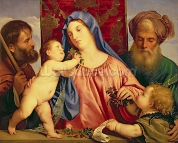 Madonna of the Cherries with Joseph, St. Zacharias and John the Baptist (panel) wall mural