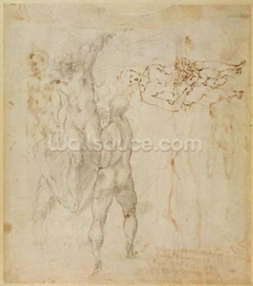 Male group and seated figure with child (pen & ink, charcoal) wall mural
