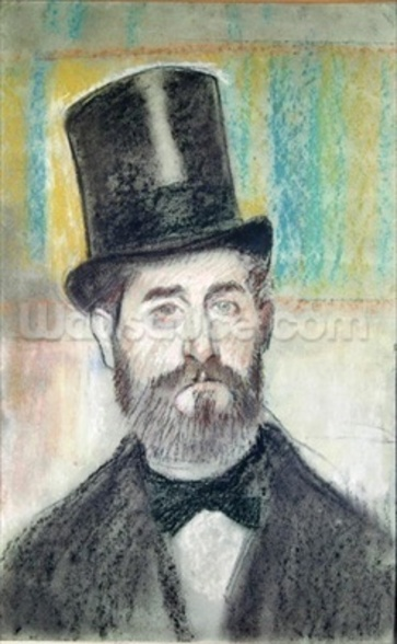 Man in an Opera Hat (pastel on paper) wall mural