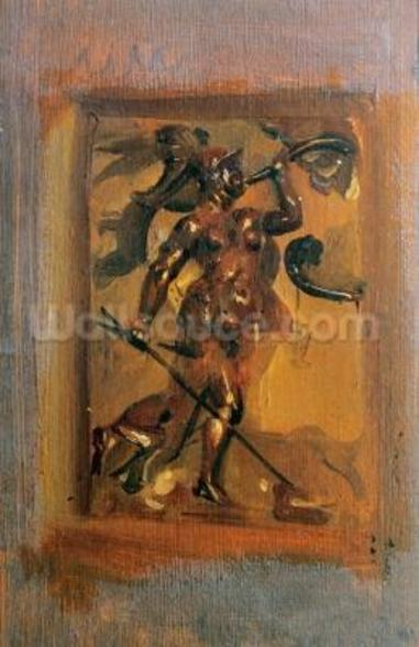 Man in armour blowing a horn (oil on canvas) mural wallpaper