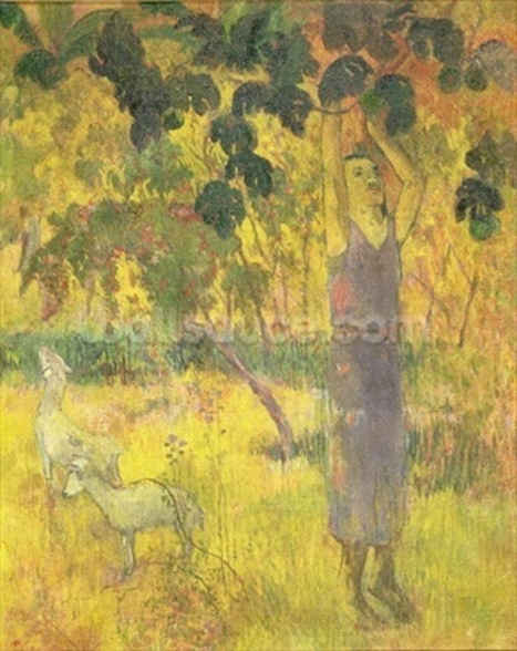 Man Picking Fruit from a Tree, 1897 (oil on canvas) wallpaper mural