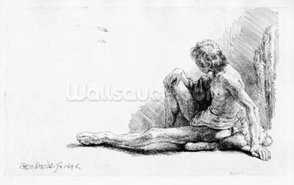Man seated on the ground, 1646 (etching) wall mural