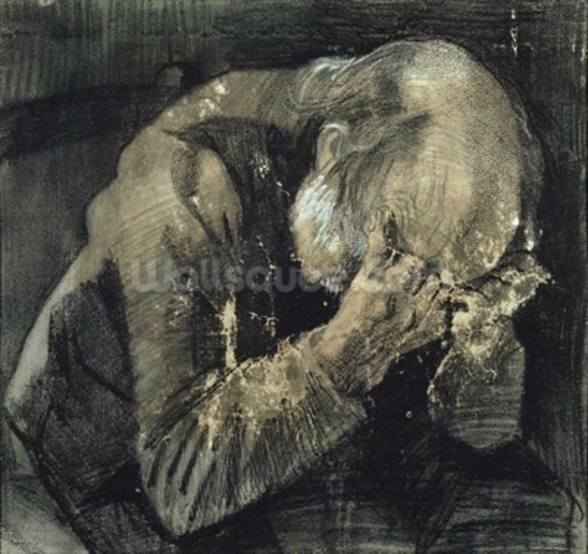 Man with his head in his hands (pencil on paper) mural wallpaper