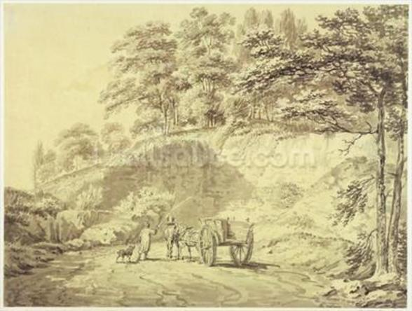 Man with Horse and Cart Entering a Quarry, c.1797 (graphite & grey wash on paper) wallpaper mural