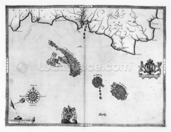 Map No.3 Showing the route of the Armada fleet, engraved by Augustine Ryther, 1588 (engraving) (b/w photo) wallpaper mural