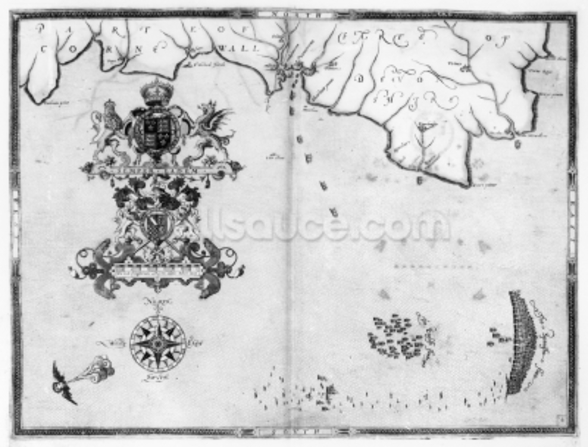Map No.4 Showing the route of the Armada fleet, engraved by Augustine Ryther; 1588 (engraving) (b/w photo) wall mural