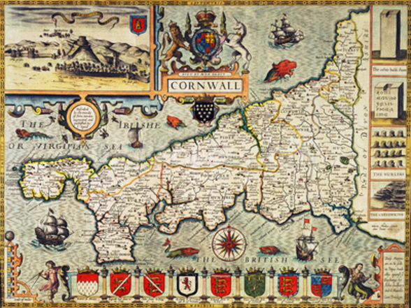 Map of Cornwall from the Theatre of the Empire of Great Britain, pub. in London by George Humble, 1627 edition (hand coloured engraving) wall mural