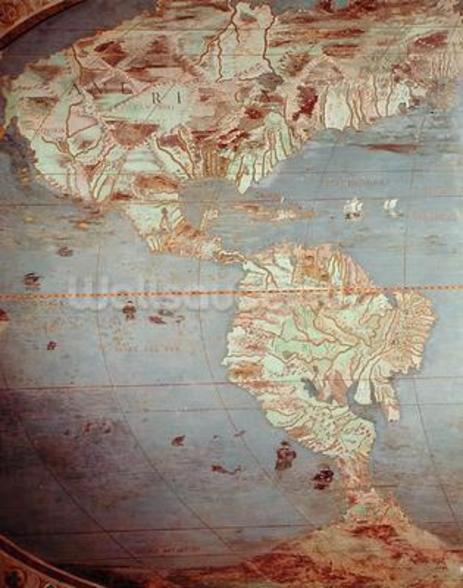 Map of North and South America, from the Sala Del Mappamondo (Hall of the World Maps, c.1574-75 (fresco) wall mural