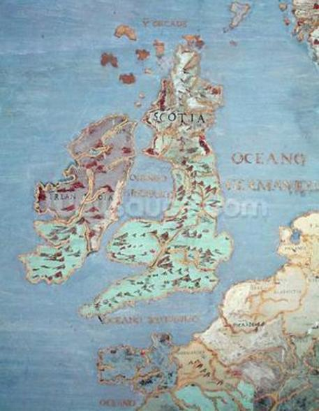 Map of Sixteenth Century Britain and Northern France, from the Sala del Mappamondo (Hall of the World Maps) c.1574-75 (fresco) (detail of 95818) wall mural