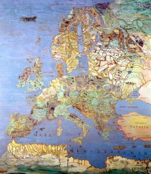 Map of Sixteenth Century Europe, from the Sala del Mappamondo (Hall of the World Maps) c.1574-75 (fresco) mural wallpaper