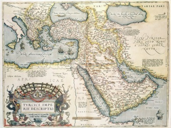 Map of the Middle East, from Theatrvm Orbis Terrarvm, 1570 (hand coloured engraving) wallpaper mural