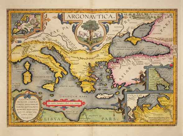 Map of the Voyage of the Argonauts, from the Theatrum Orbis Terrarum, 1603 (coloured engraving) mural wallpaper