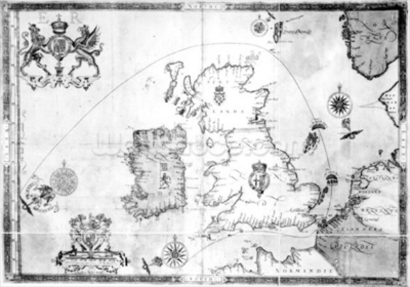 Map showing the route of the Armada fleet, engraved by Augustine Ryther, 1588 (engraving) (b/w photo) wall mural
