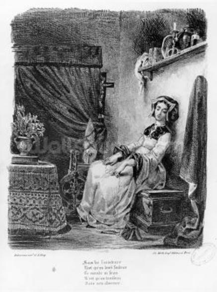 Marguerite in her Room, from Goethes Faust, (illustration), (b/w photo of lithograph) wall mural