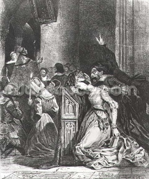 Marguerite in the Church with the Evil Spirits: illustration from Faust by Goethe, 1828 (litho) wallpaper mural