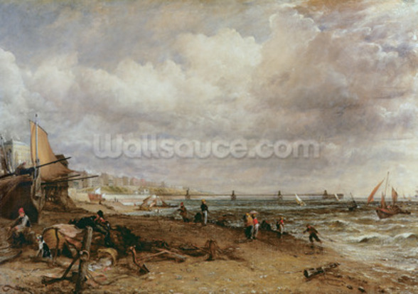 Marine Parade and Old Chain Pier, 1827 (oil on canvas) mural wallpaper