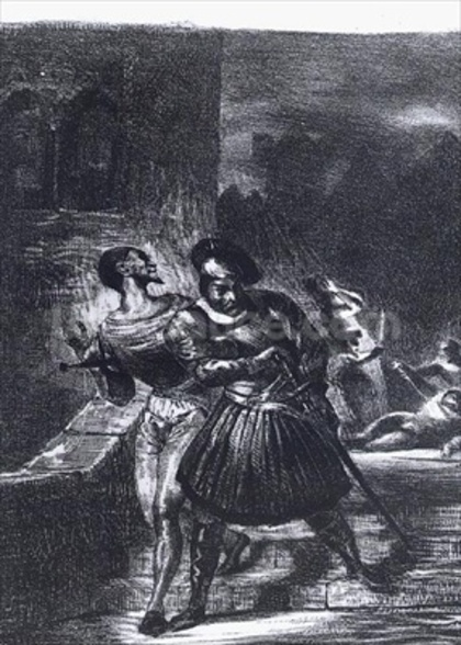 Mephistopheles and Faust escaping after Valentines Death, from Goethes Faust, 1828, (illustration), (b/w photo of lithograph) wall mural