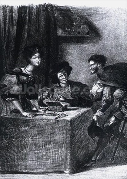 Mephistopheles, Martha and Marguerite, from Goethes Faust, 1828, (illustration), (b/w photo of lithograph) mural wallpaper