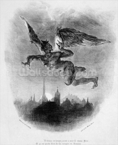 Mephistopheles Prologue in the Sky, from Goethes Faust, 1828, (illustration), (b/w photo of lithograph) mural wallpaper