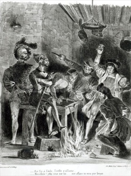 Mephistopheles and the Drinking Companions, from Goethes Faust, 1828, (illustration), (b/w photo of lithograph) wall mural