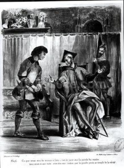 Mephistopheles and the Pupil, from Goethes Faust, (illustration), (b/w photo of lithograph) wall mural