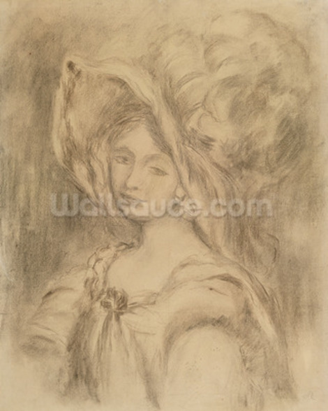Mme Dieterle in a Hat, c.1896 (charcoal on paper) mural wallpaper