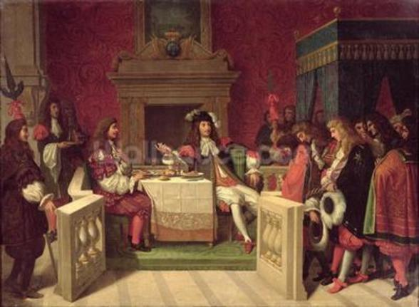 Moliere (1622-73) Dining with Louis XIV (1638-1715) 1857 (oil on canvas) wall mural