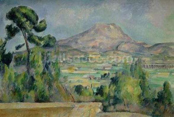 Montagne Sainte-Victoire, c.1887-90 (oil on canvas) mural wallpaper
