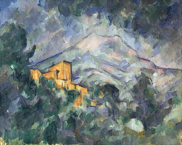 Montagne Sainte-Victoire and the Black Chateau, 1904-06 (oil on canvas) wallpaper mural