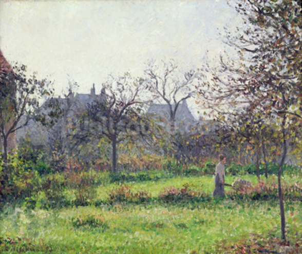 Morning Sun, Autumn, Eragny, 1897 (oil on canvas) wallpaper mural