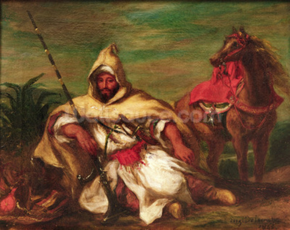 Moroccan soldier sitting near his horse, 1845 (oil on canvas) wallpaper mural