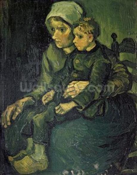 Mother and Child, 1885 (oil on canvas) wall mural
