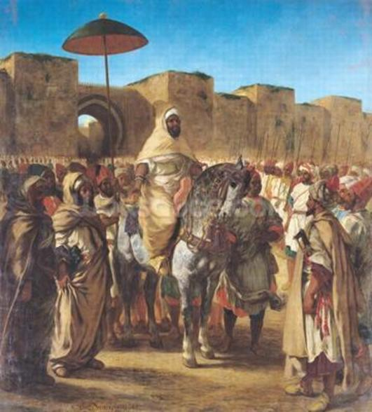 Muley Abd-ar-Rhaman (1789-1859), The Sultan of Morocco, leaving his Palace of Meknes with his entourage, March 1832, 1845 (oil on canvas) wallpaper mural