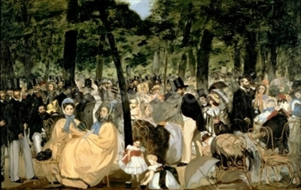 Music in the Tuileries Gardens, 1862 (oil on canvas) wall mural