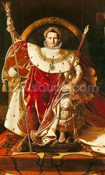 Napoleon I (1769-1821) on the Imperial Throne, 1806 (oil on canvas) wallpaper mural
