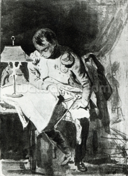 Napoleon studying his maps by lamplight, c.1800 (india ink) wall mural